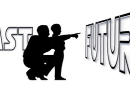 Silhouette of father and son pointing to the future
